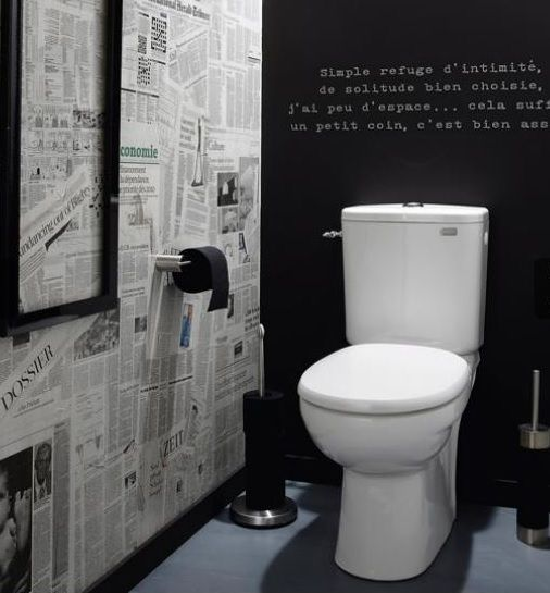 Newsprint/Chalkboard walls in toilet stalls. Guests write messages on walls?