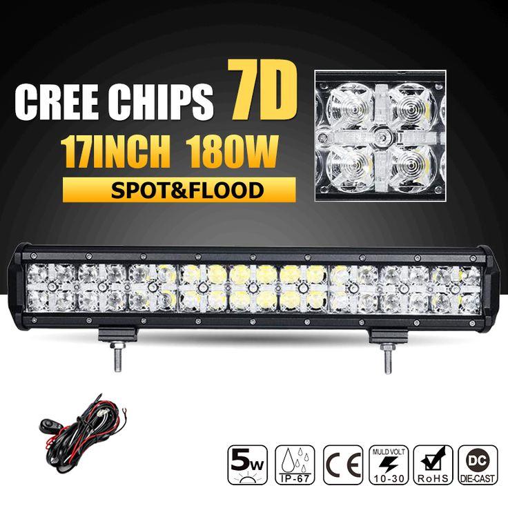 """Oslamp 7D 180W 17"""" LED Offroad Light Bar CREE Chips Combo Beam Led Work Light Bar Driving Lamp for Truck SUV ATV 4x4 4WD 12v 24v"""