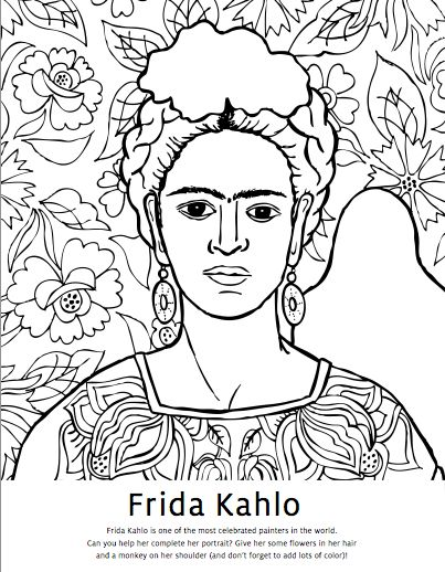 Diego Rivera Coloring Pages Frida Kahlo Coloring Pages Mexican Artists Activity Books And Diego Rivera Coloring Pages