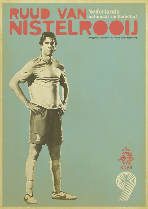 #soccerHeroes, Behance, Retro Posters, Ruud Vans, Soccer Football, Graphics Design, Football Art, Vans Nistelrooy, Manchester United