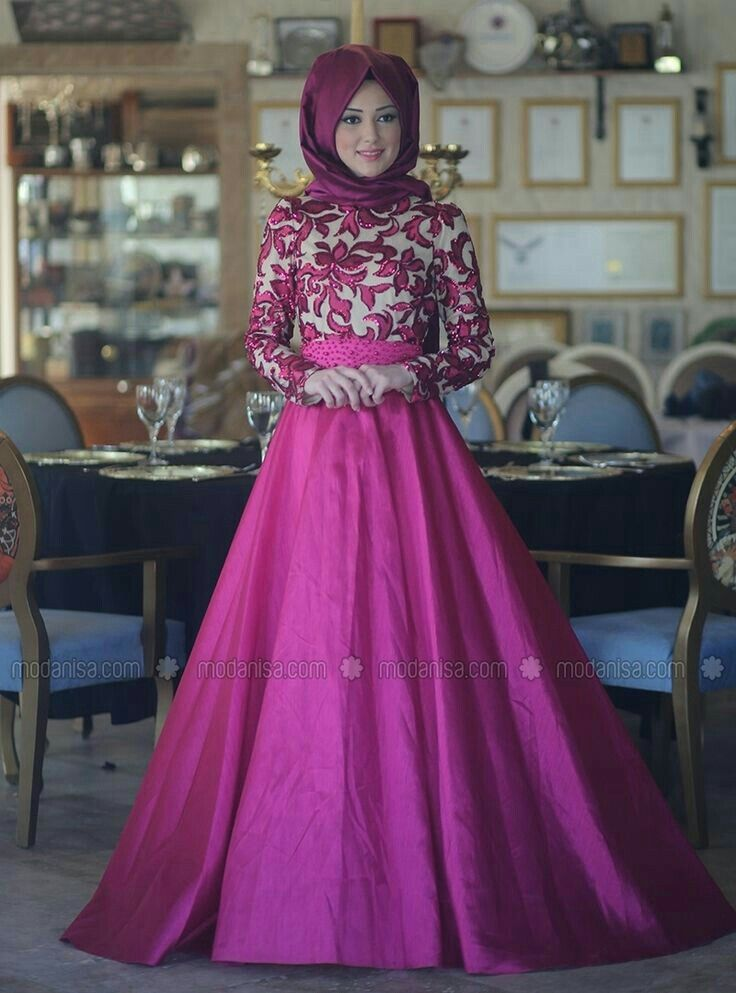 161 mejores imágenes de hijab gowns en Pinterest | Vestido hijab ...