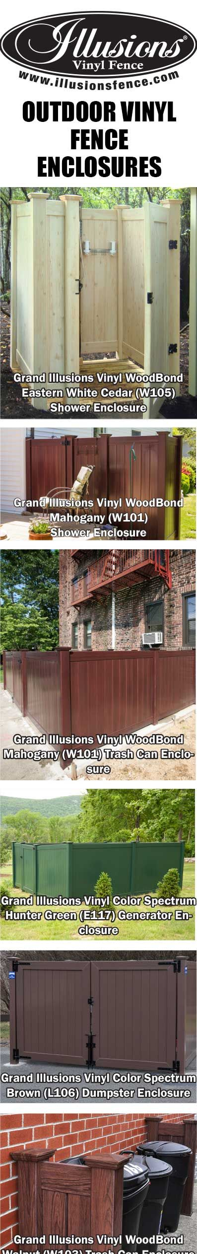 25 best vinyl fence enclosures images on pinterest illusions outdoor shower enclosures garbage can enclosures and so many other uses for grand illusions vinyl fence baanklon Image collections