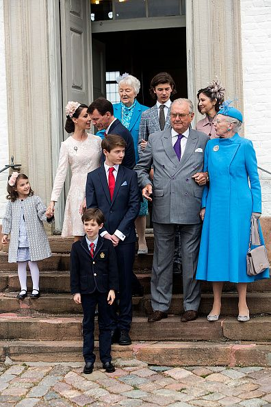 Prince Felix (R - 3rd) of Denmark, son of Prince Joachim and former wife Countess Alexandra (back row 1st-R) his brother Prince Nikolai his grandmother Christa Maria Manley, together with his family Queen Margrethe (R), Prince consort Henrik, his father and step mother Prince Joachim and Princess Marie, Princess Athena and Prince Henrik Carl at the Fredensborg Palace church after his confirmation on April 1, 2017 in Fredensborg, Denmark. Prince Felix is 14 years old and number 8 in…