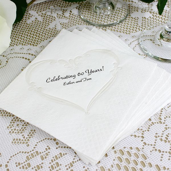 Renaissance Heart pearl embossed personalized cocktail napkins feature a beautiful raised, pearl heart design surrounding two lines of custom text.