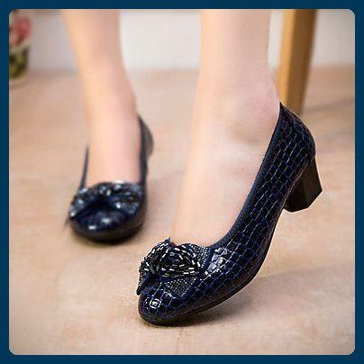LvYuan-ggx Damen-Flache Schuhe-Lässig-PU-Blockabsatz-Fersenriemen- , dark blue , us5 / eu35 / uk3 / cn34 - Sportschuhe für frauen (*Partner-Link)