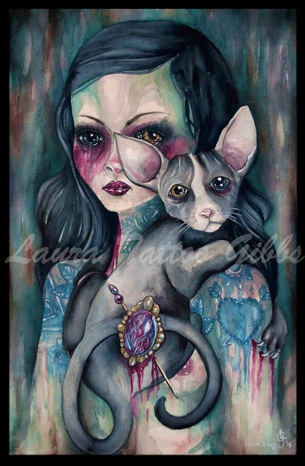 watercolour on 640gsm paper   by Laura Tattoo Gibbs  #art #watercolour #illustration #painting #gothic art #gothic #brooch #tattoo #girl #sphinx #cat