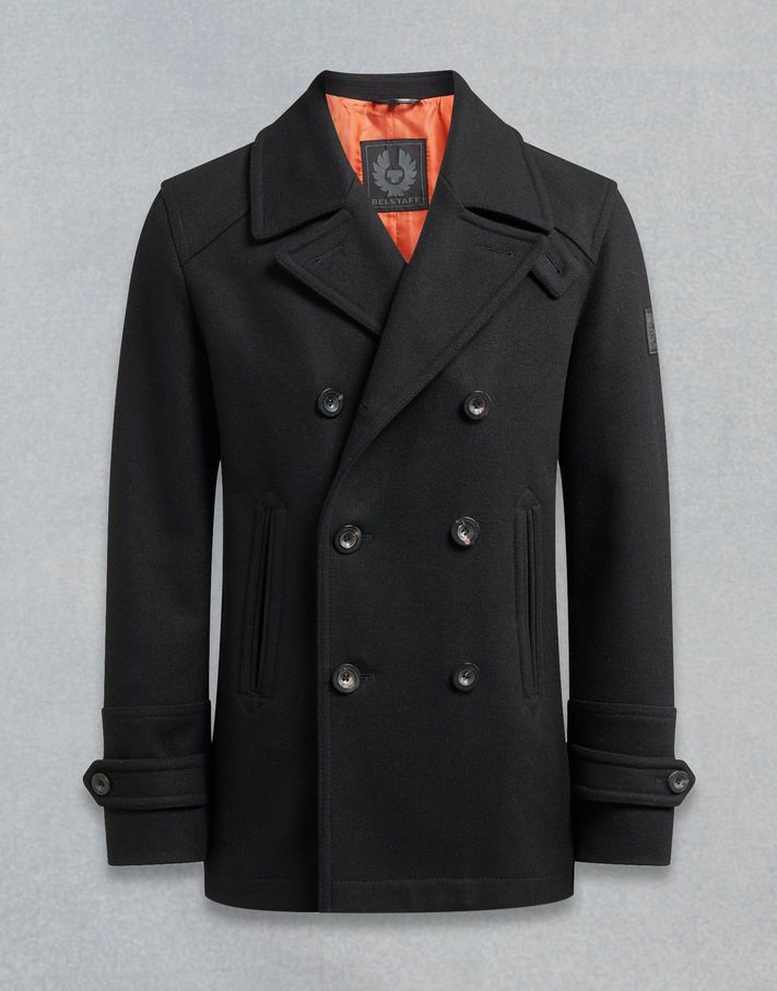 94c8a71e32ea A classic black men s peacoat in wool melton with a double breasted style  and peak lapel. Shop the Durdan peacoat from Belstaff UK.