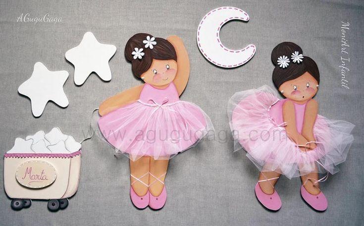 SILUETAS INFANTILES de MADERA EXCLUSIVAS Modelo Siluetas Infantiles Bailarinas Rosas http://www.agugugaga.com
