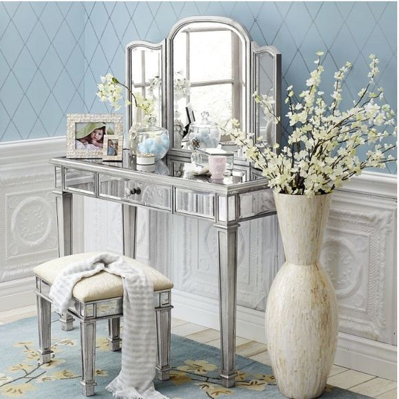 Pier One Imports Mirrored Vanity New Pier One Mirrored Vanity with drawer and mirrored cloth stool. Mirror on top of desk is detachable, Bench Included in price Pier One Imports Other