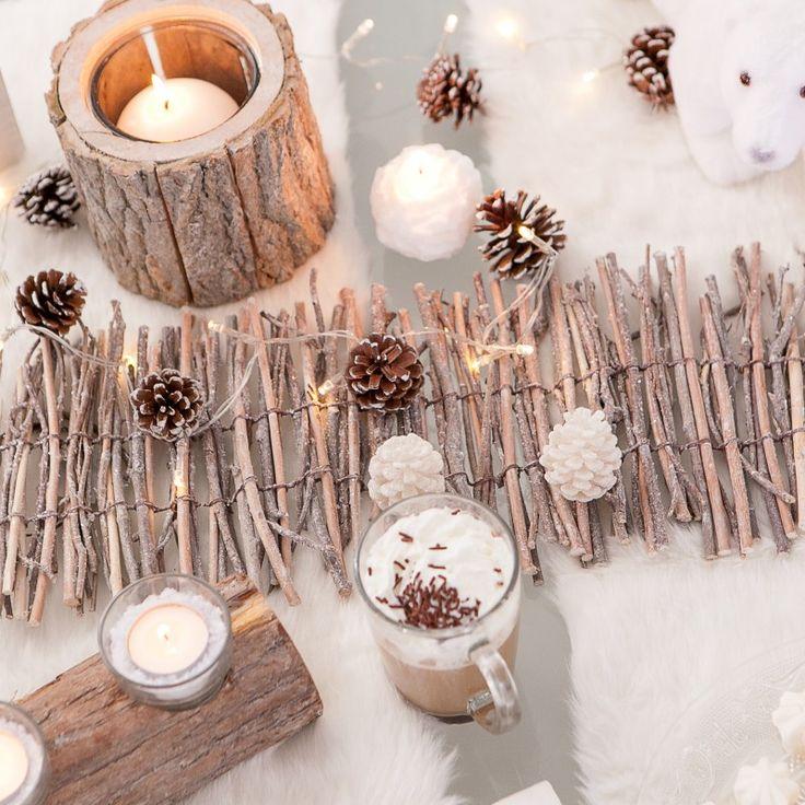 Centre de table bois givr no l esquimaux nordique 2015 for Decoration table nouvel an