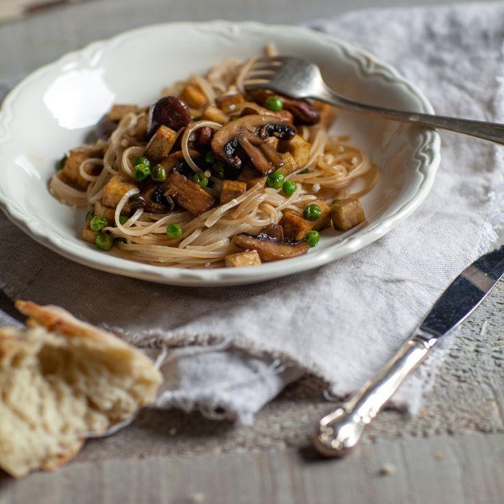 Nouilles soba asiatiques au tofu & champignons - Recette   Trois fois par jour