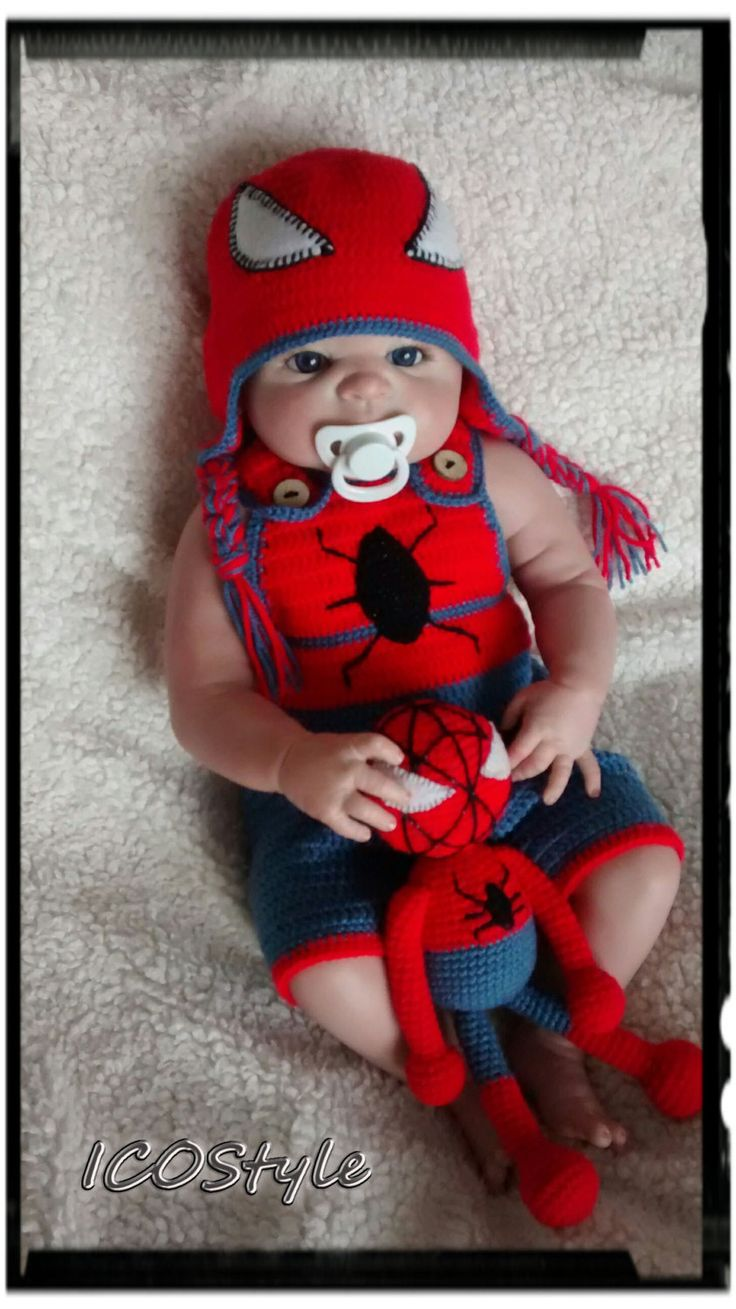 Crochet Spiderman outfit ,Spiderman Baby Set,,Newborn Photo prop,Baby Shower Gift,Baby Halloween costume,infant toy,crochet toy,Gift by ICOStyle on Etsy