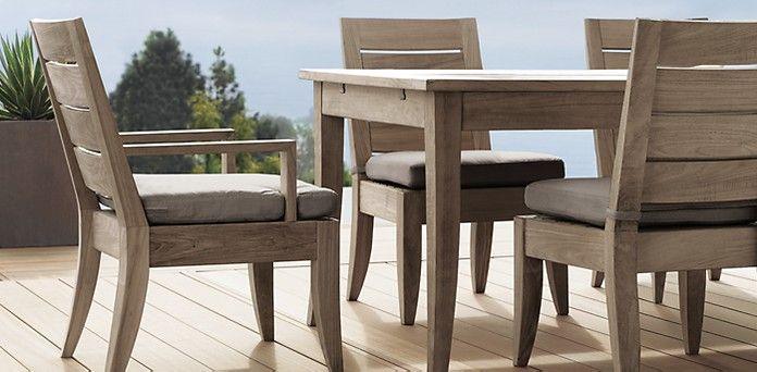 Santa barbara weathered teak restoration hardware for Restoration hardware outdoor dining