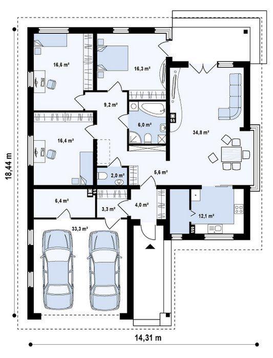Locuință de vis cu un singur nivel şi garaj pentru două maşini. – Case De Vis