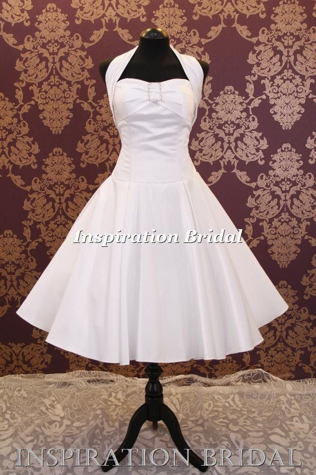 wedding dresses from the 50's and 60's | Details about wedding dress bridal gown short 60's 50's hater neck UK