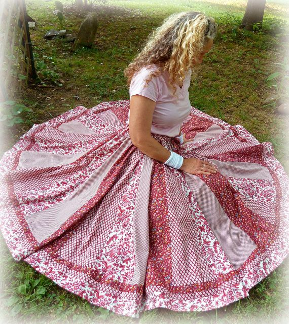 Dreamy Rose Bohemian Long Patchwork Skirt Full by 1000Colors