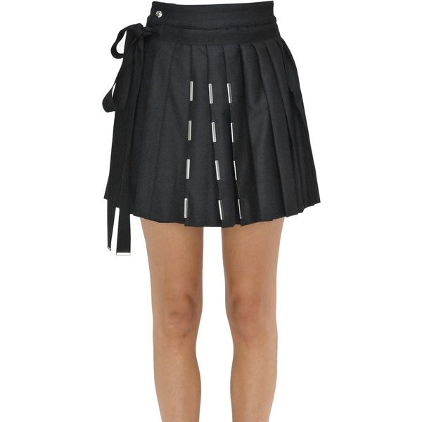 Diesel Black Gold Pleated Mini Skirt ($250) ❤ liked on Polyvore featuring skirts, mini skirts, wrap skirt, wool mini skirt, wool wrap skirt, short pleated skirt and zipper skirt