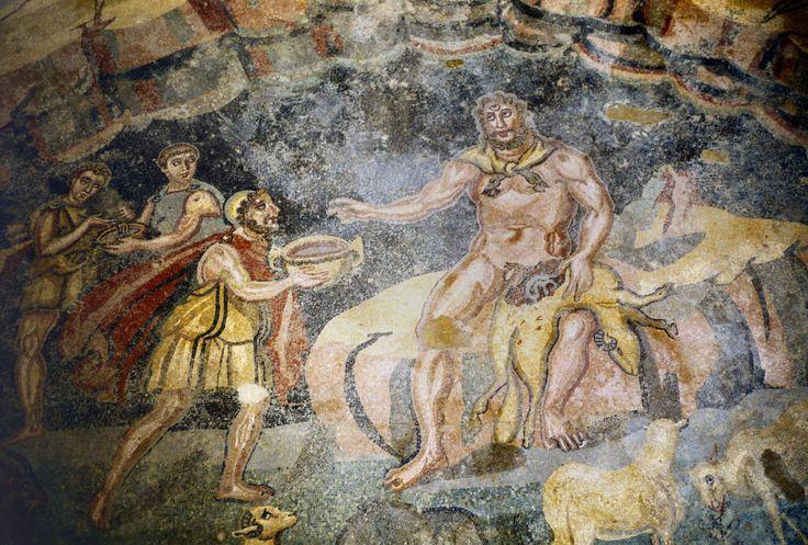 Villa romana del Casale, Piazza Armerina, Sicilia,  I mosaici del IV secolo. Ulisse e Polifemo
