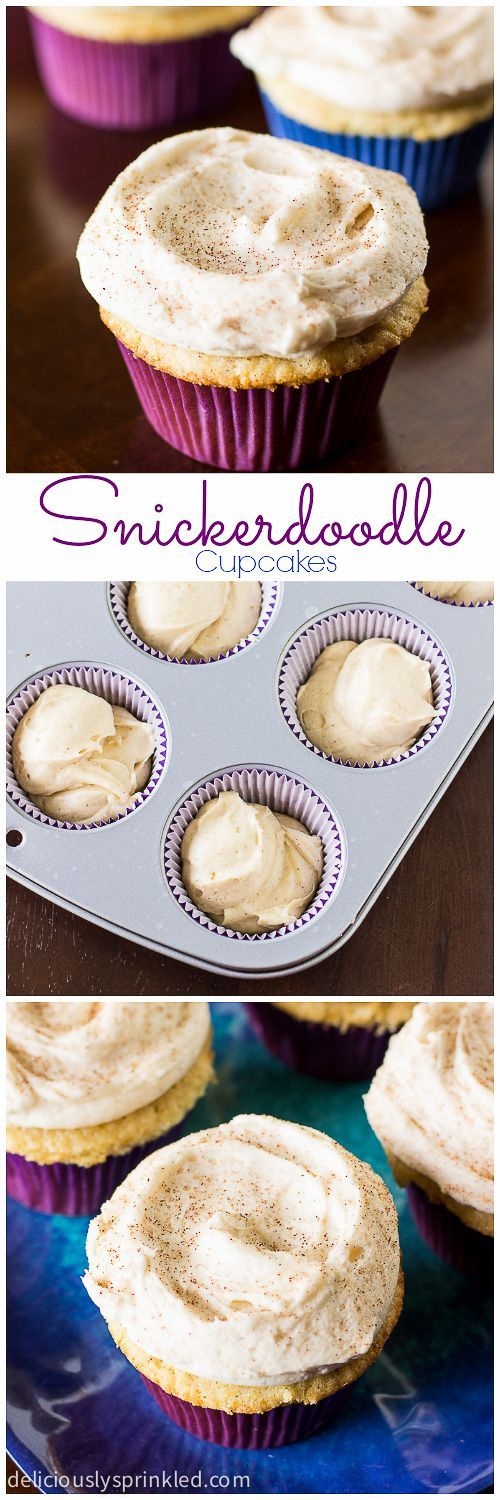 Snickerdoodle Cupcakes with Cinnamon Frosting, my husband and kids would love these!