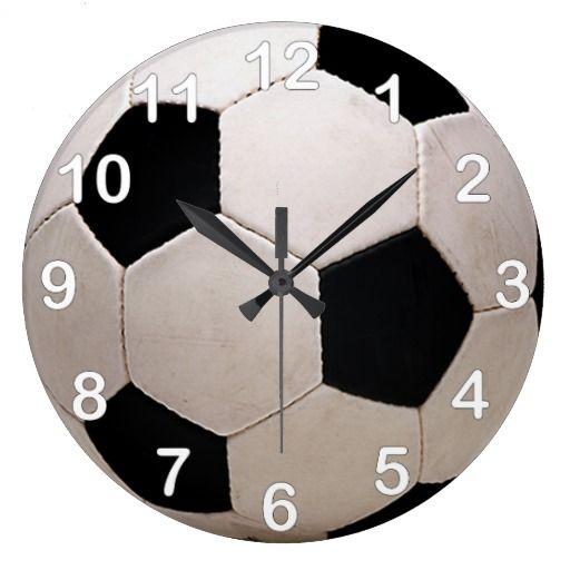 White and Black Soccer Ball Clock