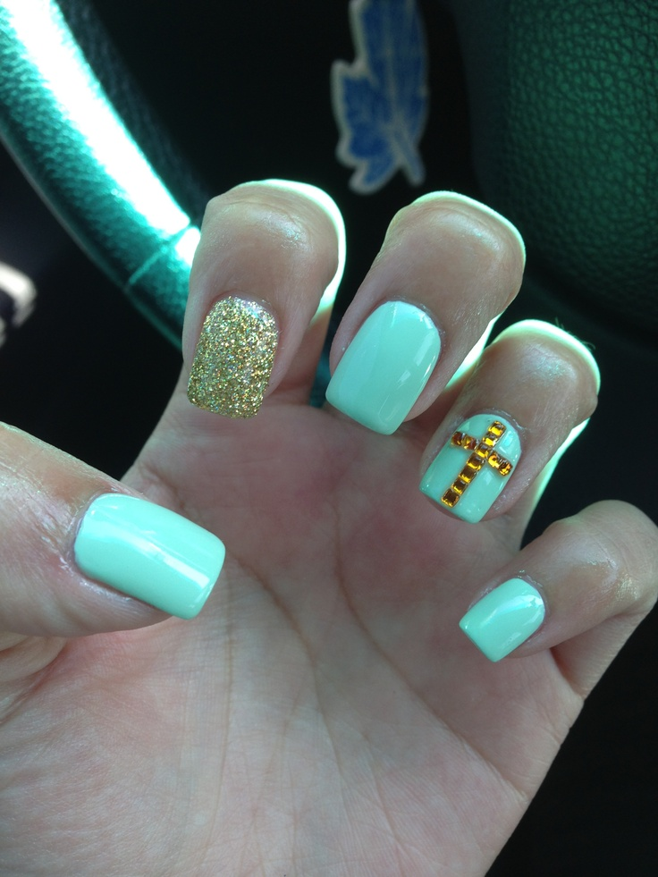 My nails  #mint #cross #nails #glitter #gold