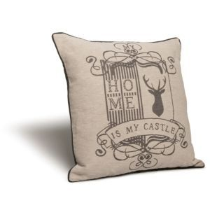 Inverno Home Is My Castle Cream & Grey Cushion