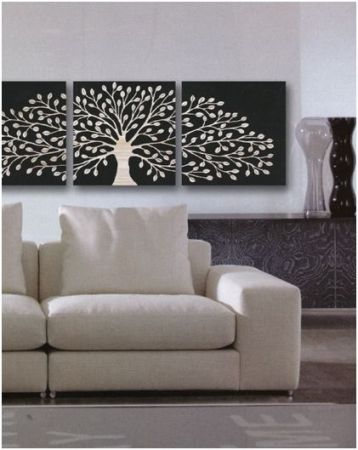 Wood Carved Tree of Life Triptych in Black - Complete Pad