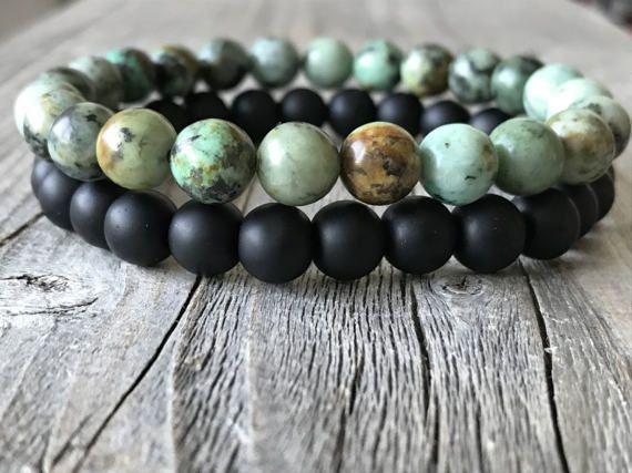 Men gemstone bracelet set  Stretch stacking door KennlyDesign