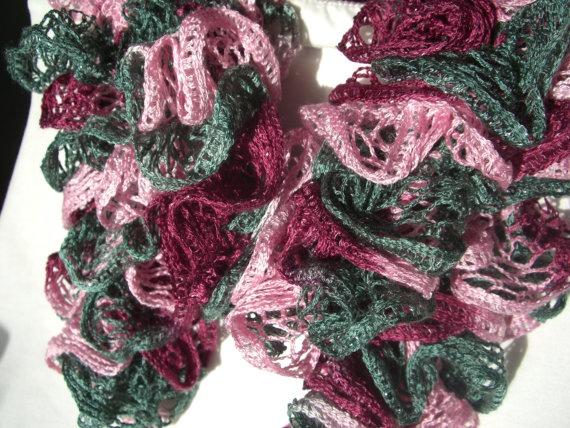 Chunky Winter Scarf Loopy Ruffly Pink Plum by KrystalzKreations, $25.00