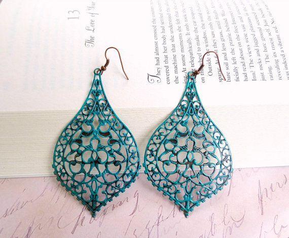 ON SALE Verdigris filigree earrings-Turquoise filigree earrings- Antique copper earrings- Boho earrings- Lace filigree earrings-Unique earr