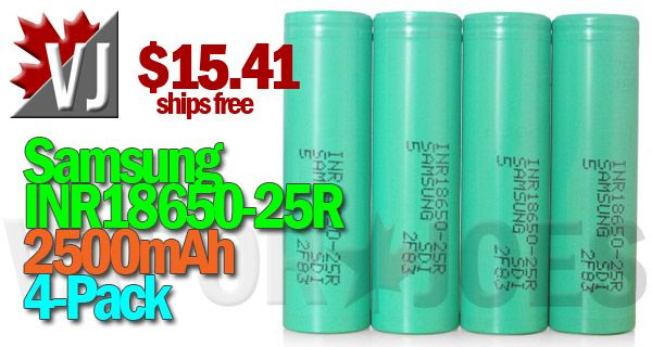 POWER UP! – Samsung 25R 2500mAh 30A – 4pk – $15.41
