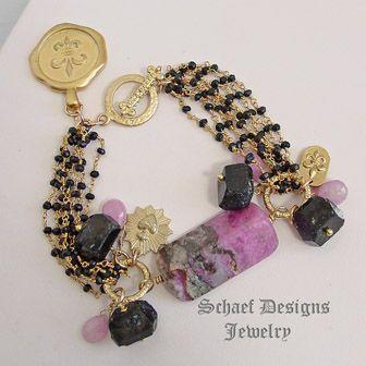 Sugilite, black tourmaline, pink Sapphire briolettes 22kt gold vermeil bracelet with fleur de lis charms | Schaef Designs artisan handmade upscale gemstone & pearl jewelry | online Jewelry boutique | New Mexico