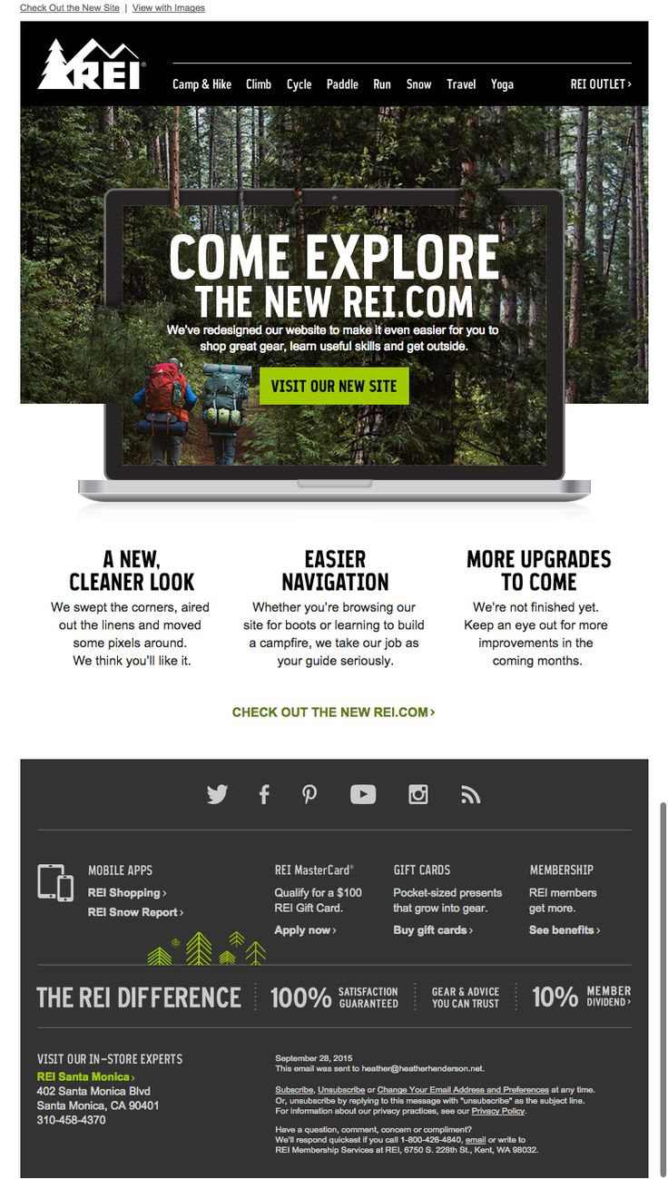 Rei Email New Website Announcement Newsletter Design Email Layout New website announcement email template