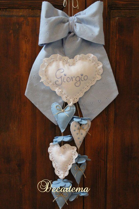 Fiocco nascita bimbo azzurro in stile shabby chic. di Decartema