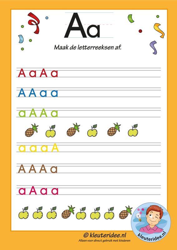 Pakket over de letter a blad 11, maak de letterreeksen af, letters aanbieden aan kleuters, kleuteridee, free printable.