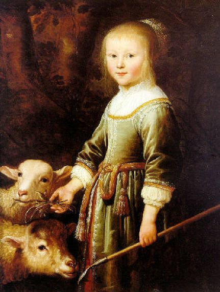 Portrait Of Maria Stricke van Scharlaken  Jacob Gerritsz Cuyp (1594 – 1650, Dutch)  What is she doing in her best dress with those sheep? I've no idea but it makes a change!