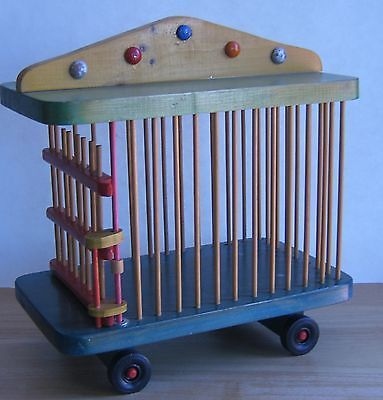 Vintage-Wooden-Circus-Train-Cage-Handcrafted-Hand-Painted-Maurice-Vautier-12x12