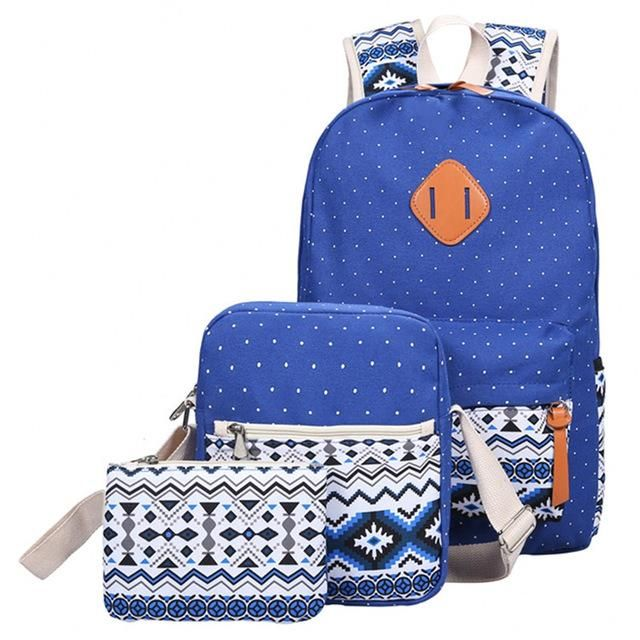 3 Pieces Blue Backpack set in a variety of 7 color options. 3 products for the price of one! Perfect for traveling and everyday usage. On Sale!