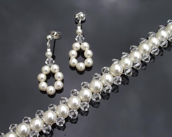Bracelet & Earring Sets - Woven Pearl And Crystal Bridesmaids Bracelet And Earring Set, Anabelle