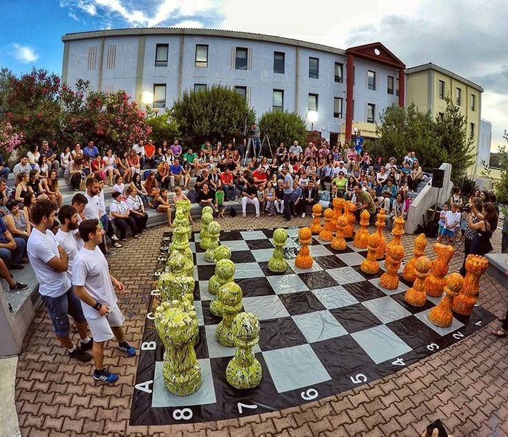 "World's greatest game of chess Pawns made of recycled  lifejackets ""Wishing peace always wins""  University of the Aegean GREECE . #world #big #Chess #giant #refugees #life #recycle #lifejacket #tedx #win #game #university #lesvos #greece #gopro #goprohero4"