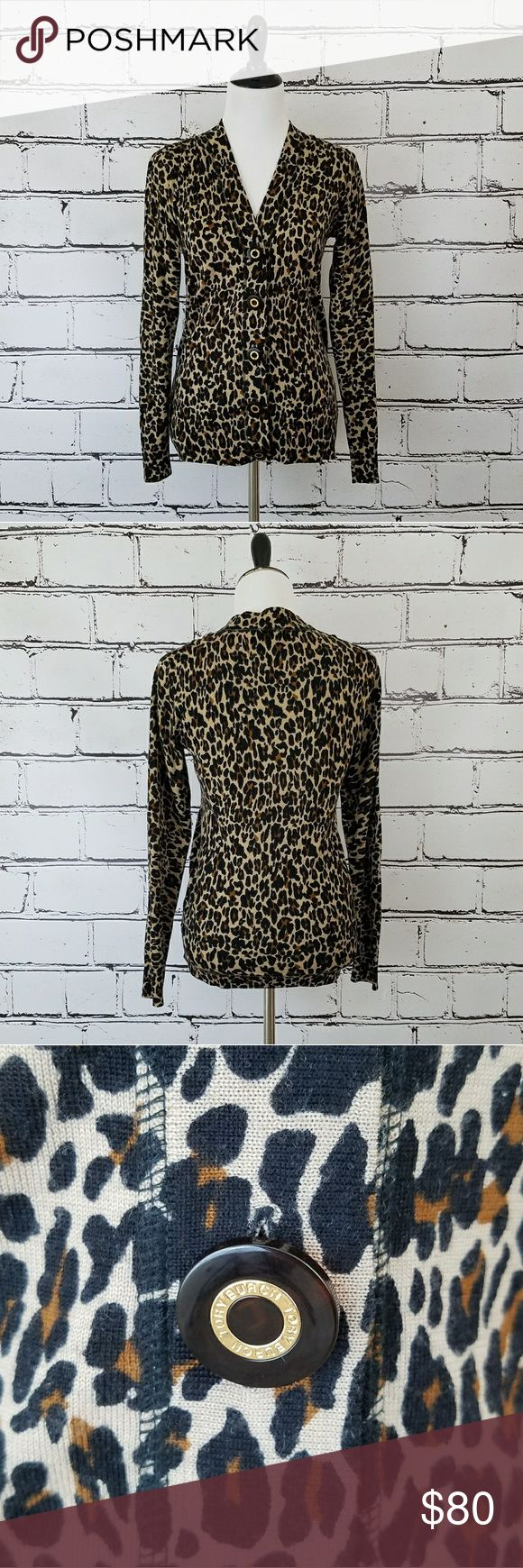 Tory Burch Cheetah Cardigan! Cream colored cardigan sweater with tan and brown cheetah/leopard print. Large logo buttons down the front. 100% wool. Length is about 25 inches and armpit to armpit is about 18 inches. Great condition! Tory Burch Sweaters Cardigans