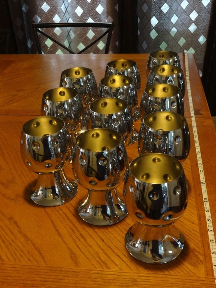 Set Of Twelve Chase Chrome Bacchus Wine Goblets Dimpled Art Deco 1930's