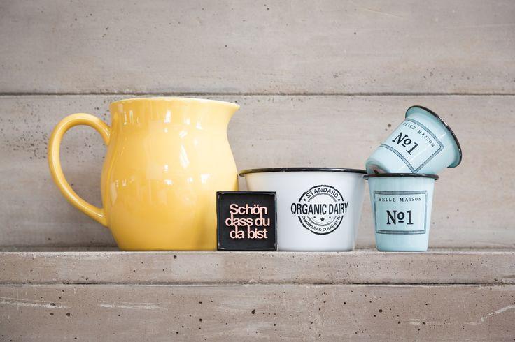 Schön, dass du da bist! Dekoration für Zuhause <3  #kitchen #cups #yellow #türkis #küche #kochen #dekorieren #sayings #quotes #interior