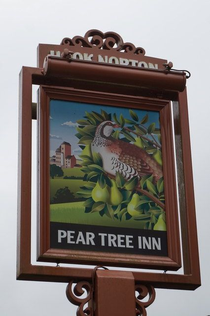 The Pear Tree Inn is a village pub in Hook Norton, Oxfordshire, England. This  18th century pub which also serves as the  Brewery's tap, is ideally located for use by the many ramblers and cyslists who pass by or visitors to the Hook Norton Brewery Visitor Centre.  The Pear Tree has single, beamed bar with welcoming log fire.  They have a child friendly beer garden and outside play area for your children.  Dogs are also welcome.  I love the great British country boozer on a Sunday afternoon.