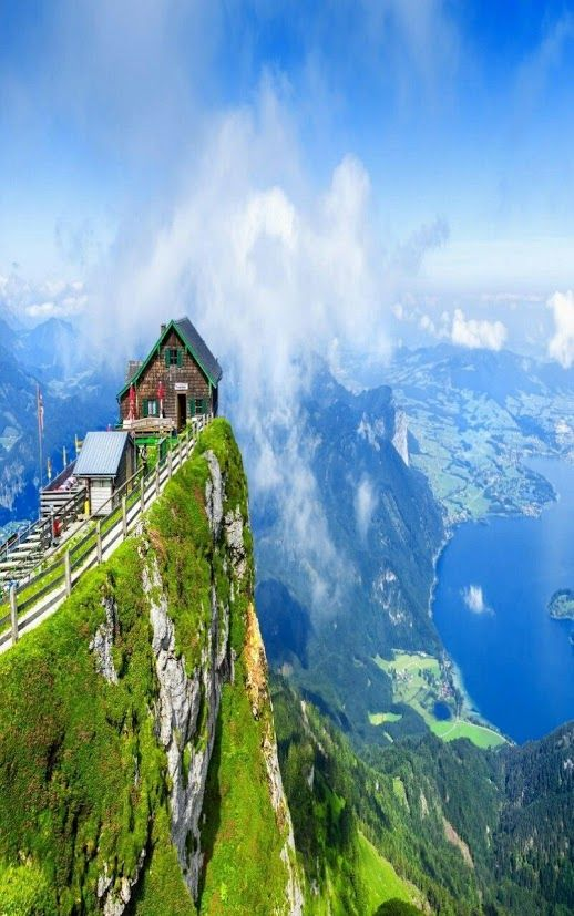 Rising high above the shore of Lake Wolfgangsee in Austria, Schafberg Mountain is a picturesque platform with a few more amenities than the typical summit. Besides the amazing view you find a hotel and restaurant, as well as a cog-railroad train that takes non-climbers to the summit.
