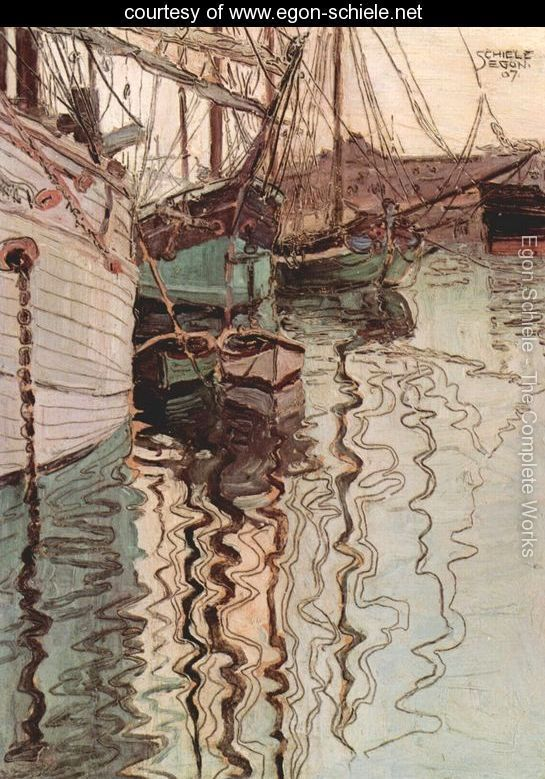 Egon Schiele - Sailing ships in the waves-exciting water (the harbour of Trieste)