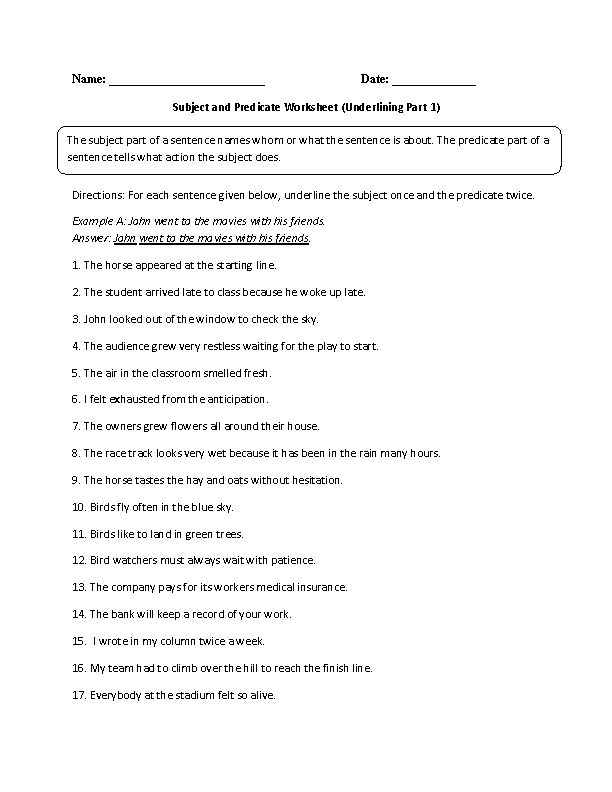 subject and predicate worksheet underlining part 1 advanced grammar and punctuation subject. Black Bedroom Furniture Sets. Home Design Ideas