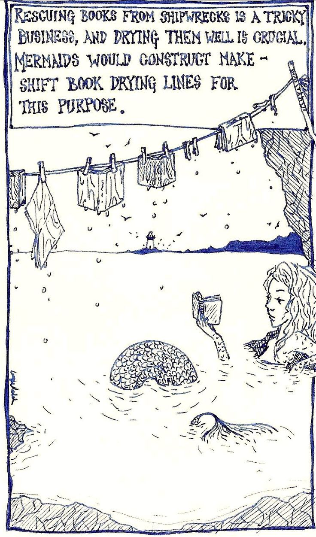 Mermaid and books