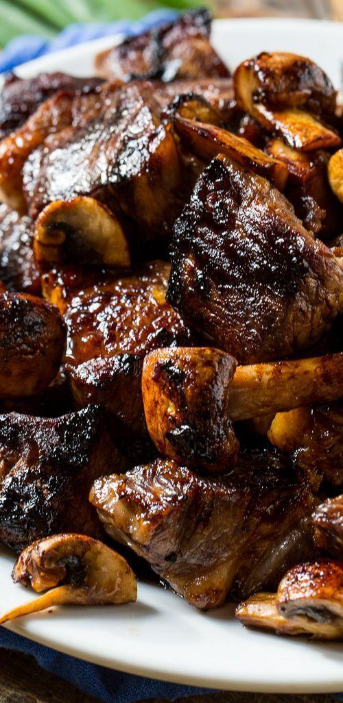 Honey Bourbon Steak Tips with Mushrooms