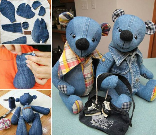 "<input class=""jpibfi"" type=""hidden"" >  These Denim Teddy bears are so cute ! I love to go to sleep with teddys .And now you can make your own teddy bears from jeans . They are also nice handmade gifts for your kids or someone else . Check FREE Pattern and Tutorial ... Get crafty ! Click HERE for the…"